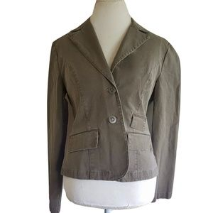 INC Blazer Jacket Size M Green Stretch Two Button